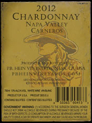 SOLD OUT! 2012 Napa Valley Chardonnay